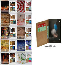 For Huawei P9 P8 Lite Case - Music Note Print Wallet Phone Case Flip Cover