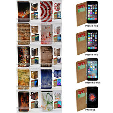 For iPhone 7 Plus SE 5 5s 6 6s Plus - Music Note Print Wallet Phone Case Cover