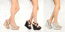 Lot Faux Leather Black Silver Gold Wedges High Heels Glitter Shoes Sexy Platform