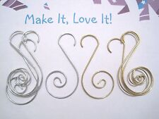 8 x Swirl Christmas Tree Hooks for Decorations Hang SILVER or GOLD Hanging Craft