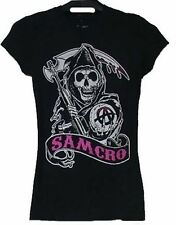 AUTHENTIC SONS OF ANARCHY 100% COTTON 'SAMCRO' HEAD LADIES T-SHIRT BLACK PINK
