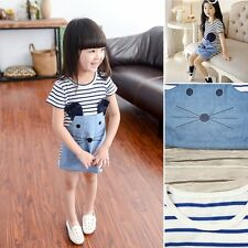Toddlers Kids Baby Girls Denim Mouse Clothes Short Sleeve Striped Party Dresses