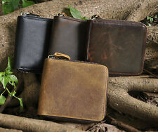New Men Genuine Leather Zipper Wallet Cowhide Trifold Coin Purse Card Holder!