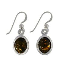 Plain Oval Stone Amber Stone 925 Sterling Silver Earrings
