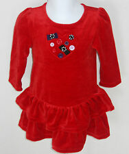 Gymboree Girl's Winter Penguin Red Long Sleeve Velour Dress Size 3-6 Months