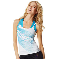 Zumba Fitness Slim Shaded Spaghetti Tank Top - Wear It Out White - NEW