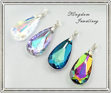 925 Sterling Silver 32mm x 12mm Teardrop Pendant made with Swarovski Crystals