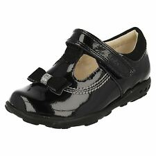 Girls Clarks Ella Ruby Fst Black Patent Leather T-Bar Shoes