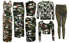 NEW LADIES GREEN BROWN ARMY CAMOUFLAGE PRINT LEGGINGS DRESS TOP SKIRT SIZE 8-18