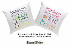Baby Birth Announcement Throw Pillow Boy or Girl Personalized Newborn Keepsake