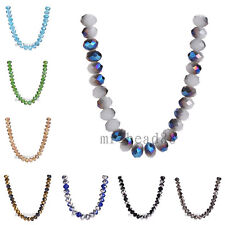 8x6mm Rondelle Faceted Crystal Glass Loose Charms Colorized Beads 69Colors