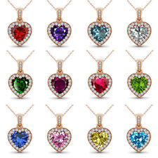 "Halo Heart Valentine Select Gem Birth Stone Pendant 14K Rose Gold 18"" Chain"