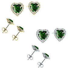 6mm Emerald Birth Gem Stone Stud Halo Solitaire Heart Silver Pair Earrings