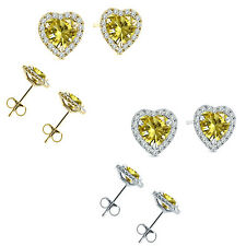 6mm Citrine Birth Gem Stone Stud Halo Solitaire Heart Silver Pair Earrings