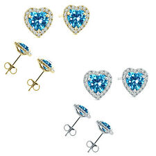 6mm Blue Topaz Birth Gem Stone Stud Halo Solitaire Heart Silver Pair Earrings