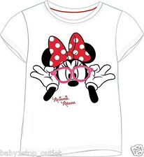 Girls Disney Minnie Mouse T-Shirt Top White Size 2-3 3-4 5-6 7-8 9-10 Years Cute