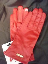 Calvin Klein Leather Tech Texting Gloves Red MSRP $68 NEW FREE SHIP