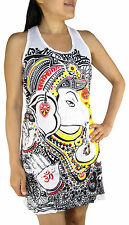 Ganesh Yoga Pilates Tank Top Dress Tunic Shirt, Racerback, Cotton, Small / Large