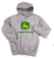 JOHN DEERE *TRADEMARK LOGO* LIGHT GRAY HOODIE Sweatshirt *NEW!* M,L, XL, XXL