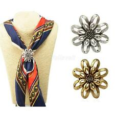 Women New Buckle Pins Retro Flower Scarf Clips Rings Design Wedding