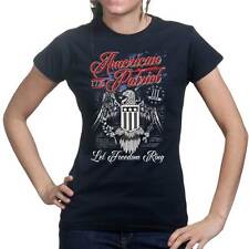 American Patriot Eagle 4th July Flag Ladies T shirt Tee Top T-shirt