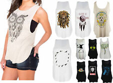 New Womens Ladies Latest Stylish Cotton Printed Sleeveless T-Shirt Vest Top 8-22