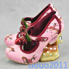 Women Cherry Mary Jane Strange Wedge Heel Cute Deer Cosplay Wedding Pumps Sandal