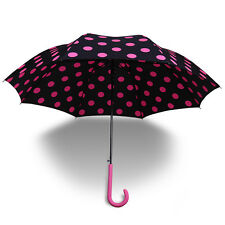 NEW Compact Folding Polka Dot Umbrella Straight Long Handle Anti UV Parasol