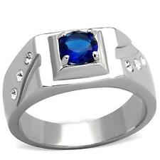 Men's 6 mm Synthetic Glass High Polish Stainless Steel Ring