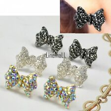 Women Fashion Cute Rhinestone Crystal Bowknot Bow Tie Earrings Ear Studs LM