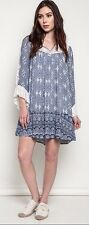 Umgee Lace Sleeve Ruffle Hem Shift Dress Sheer Lace Back Bohemian Boho A1217
