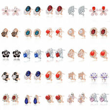2016 Chic Women's Silver/Gold Plated Crystal Rhinestone Clip Earrings Party Gift