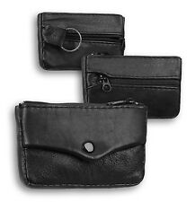 MEN'S SMALL ZIPPED PURSE,REAL LEATHER : BLACK
