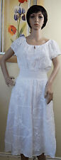NWT NY COLLECTION white cotton cap sleeve elastic waist summer dress,size M, L