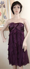 NWT with DEFECT XSCAPE purple strapless vertical tier ruffle dress,size 8,14