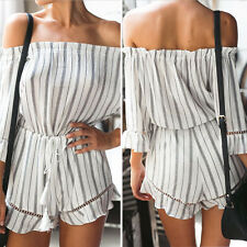 Women Summer Sexy Off Shoulder Lace Party Striped Short beach Jumpsuits Rompers
