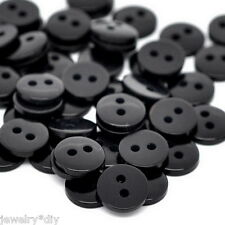 JD Wholesale Black Round Resin Sewing Buttons Scrapbooking 9x2mm