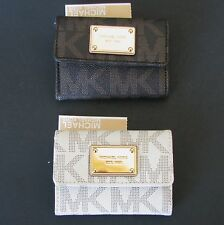 NEW-MICHAEL KORS ITEMS BROWN+WHITE MK PVC+GOLD FLAP COIN PURSE,WALLET,CARD CASE