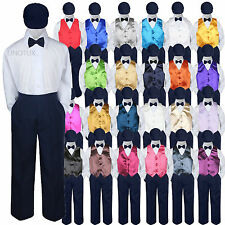 23 Color Choice 5pc Vest Bow Tie Boys Suit Navy Hat Baby Toddler Kid Formal S-7