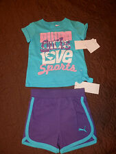 NWT-Puma Infant Girls Two Piece Matching Short Set --Aqua/Purple-0620