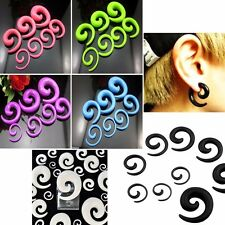 2 Gauge Punk Snail Spiral Acrylic Hook Taper Ear Plug Earring Expander Stretcher