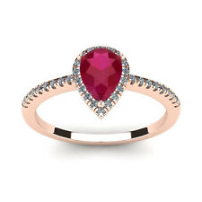 14K ROSE GOLD 1 CARAT PEAR SHAPE GENUINE RUBY AND HALO DIAMOND RING