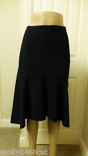 MARKS & SPENCER PER UNA NAVY BLUE ASYMMETRICAL EMBOSSED MIDI SKIRT 16/18