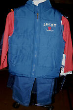 """New With Tags-3 Piece Boys """"Lucky Brand"""" Set-Vest-LS Shirt-Jeans-1220"""