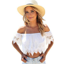 Summer New Women Sexy Off Shoulder Lace White Crop Tops Casual Party Beach Shirt