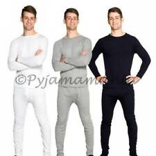 Thermals Mens Cotton Thermal Underwear 2pc Set Black Grey OR White Sz S M L XL X