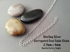 Sterling Silver (925) Corrugated Oval Cable Chain, Choose your length and clasp