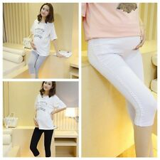 Lady Pregnant Stretchy Capris Pants Solid Trousers Prop Belly Maternity Leggings