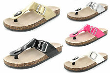 LADIES WOMENS NEW SLIP ON FLAT CORK SUMMER SANDALS TOE POST FLIP FLOPS  UK SIZES