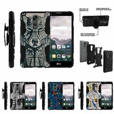 For LG Stylus 2 Plus| Clip Combo Holster Stand Case Wolf Drawing